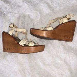 Coach Mayra Wooden Wedge Sandals Cream